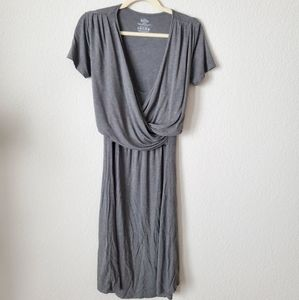 Baby Be Mine Short Sleeve Gray Nursing Dress (L)
